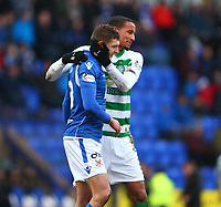 1st March 2020; McDairmid Park, Perth, Perth and Kinross, Scotland; Scottish Premiership Football, St Johnstone versus Celtic; Christopher Jullien of Celtic hugs Liam Gordon of St Johnstone