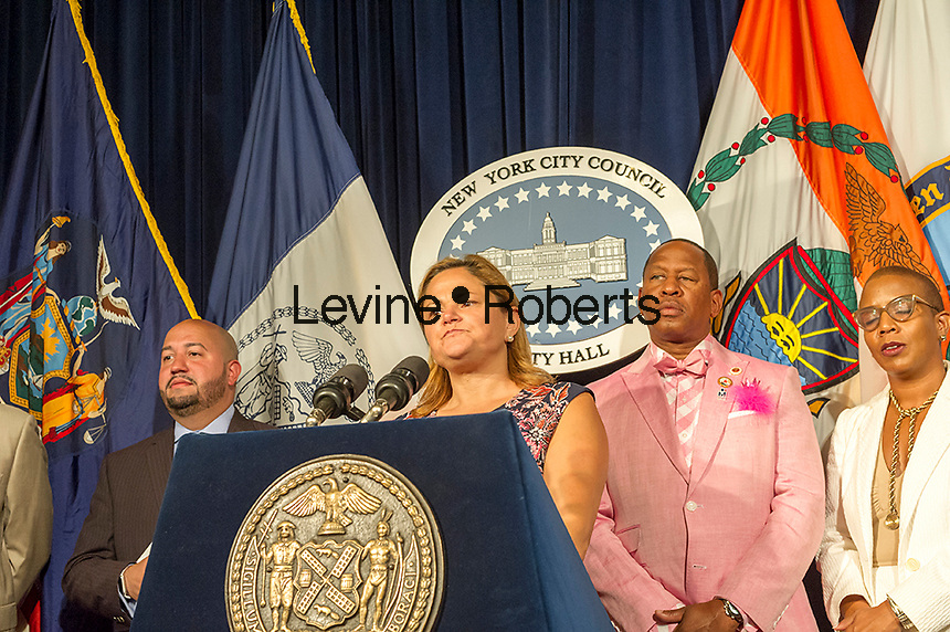 New York City Council Speaker Melissa Mark-Viverto and members of the New York City Council hold a news conference in the Red Room of NY City Hall about pending legislation including Minority and Women-Owned Business Enterprise Legislation, Hate Crime, Sex Offense and Domestic Violence Reporting Legislation, Bicycle Accessibility Legislation, and Pedestrian Right of Way Legislation, on Wednesday, September 14,  2016. (© Frances M. Roberts)