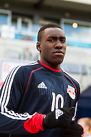 Lloyd Sam (10) of the New York Red Bulls. The New York Red Bulls defeated the Philadelphia Union 2-1 during a Major League Soccer (MLS) match at Red Bull Arena in Harrison, NJ, on March 30, 2013.