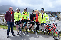 Pat Forde, Breakthrough Breakthrough Cancer Research , Michael Murphy, Sneem, Ann O'Sullivan, Breakthrough Cancer research, Louis Moriarty, The Sneem Hotel and pictured at the half way break at Kilmackillogue Harbour in County Kerry whilst taking part in the annual Sneem Cycle, &ldquo;Wild Atlantic Challenge Charity Cycle&rdquo; in aid of Cancer Research at the weekend.<br /> Photo Don MacMonagle<br /> <br /> repro free photo<br /> Further info: Ann O'Sullivan ann@breakthroughcancerresearch.ie