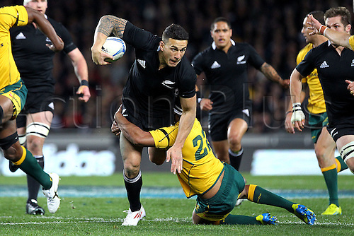 25.08.2012. Auckland, New Zealand.  All Blacks' Sonny Bill Williams runs over Australia's Kurtley Beale during the Rugby Championship and Bledisloe Cup Rugby Union test match, New Zealand All Blacks versus Australian Wallabies at Eden Park, Auckland, New Zealand. Saturday 25 August 2012.