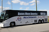 SPRINGFIELD, VA - MAY 12: The American Bus Association gathers buses from all over the country to come to DC to promote how Big Buses and small businesses move America. More than 90 percent of bus drivers and employees from bus companies have been laid off due to COVID19. An entire parade plan to drive around the Nations Capital tomorrow to try and convince congress and the president to pass funding to help keep companies in business on May 12, 2020 in Springfield, Virginia. <br /> CAP/MPI34<br /> ©MPI34/Capital Pictures