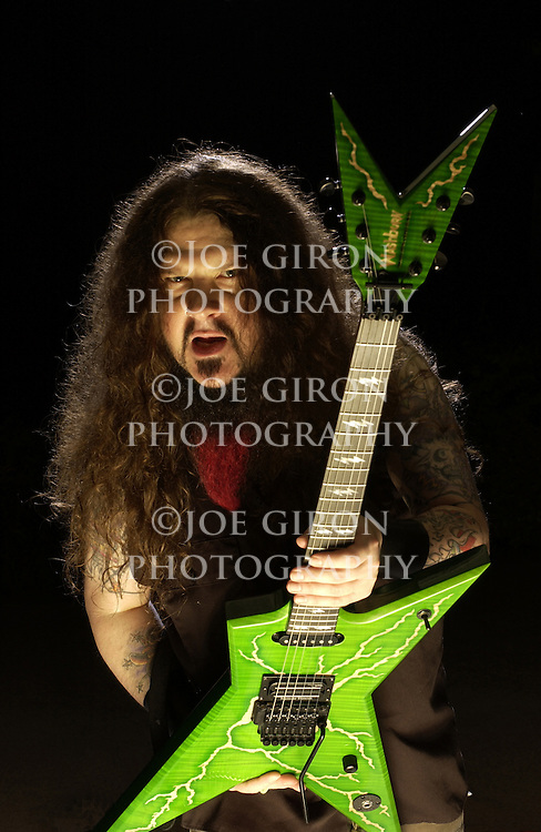 Dimebag Darrell Abbott of Pantera/Damageplan fame, poses for a portrait session.