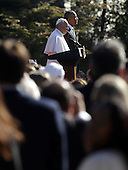 Pope Francis (R) and U.S. President Barack Obama (L) stand for the national anthem of the Holy See during the arrival ceremony at the White House on September 23, 2015 in Washington, DC. The Pope begins his first trip to the United States at the White House followed by a visit to St. Matthew's Cathedral, and will then hold a Mass on the grounds of the Basilica of the National Shrine of the Immaculate Conception. <br /> Credit: Alex Wong / Pool via CNP