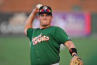 Third baseman Eudor Garcia (28) of the Savannah Sand Gnats warms up before in a game against the Greenville Drive on Thursday, September 3, 2015, at Fluor Field at the West End in Greenville, South Carolina. (Tom Priddy/Four Seam Images)