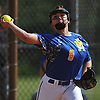 Amy Mallah #8, East Meadow third basewoman, throws to first base for an out during Game 2 of the best-of-three Nassau County varsity softball Class AA final against Long Beach at Mitchel Athletic Complex on Wednesday, May 24, 2017.