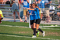 Kansas City, MO - Sunday September 3, 2017: celebrate, celebration, Lo'eau Labonta, Shea Groom during a regular season National Women's Soccer League (NWSL) match between FC Kansas City and Sky Blue FC at Children's Mercy Victory Field.
