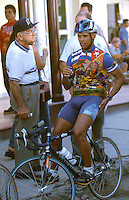 03 FEB 2003 - PUERTE PADRE, CUBA - A member of the public takes a closer look at Luis Perez Andinos cycle top at the start of the Ruta Ecologica. (PHOTO (C) NIGEL FARROW)