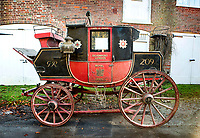BNPS.co.uk (01202 558833)<br /> Pic: PhilYeomans/BNPS<br /> <br /> The run down carriage was bought from Bonhams in 2015, as foreign buyers circled.<br /> <br /> Last Post - Britain's last Royal Mail carriage, that bizarrely once survived an attack by a lion outside Salisbury, has been saved for the nation.<br /> <br /> The 200-year-old horse-drawn carriage harks back to the golden age of the Royal Mail when crowds gathered along the route to see the lightning-quick service thunder by.<br /> <br /> The restored four horse coach was known as 'Quicksilver' as it was the fastest in the land on its regular 21 hour run from Devonport, Devon, to London.<br /> <br /> But the red and black wooden wagon went down in history for an extraordinary incident involving a lion in the English countryside in 1816.