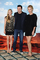 "Amanda Seyfried, Seth McFarlane and Charlize Theron at the photocall for ""A Million Ways to Die in the West"" at Claridges Hotel, London. 27/05/2014 Picture by: Steve Vas / Featureflash"