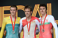 The podium for the men's cycling time trial.  From left, silver medalist Australia's Rohan Dennis, gold medalist England's Alex Dowsett and bronze medalist Wales' Geraint Thomas<br /> <br /> Photographer Chris Vaughan/CameraSport<br /> <br /> 20th Commonwealth Games - Day 8 - Thursday 31st July 2014 - Cycling - time trial - Glasgow - UK<br /> <br /> © CameraSport - 43 Linden Ave. Countesthorpe. Leicester. England. LE8 5PG - Tel: +44 (0) 116 277 4147 - admin@camerasport.com - www.camerasport.com