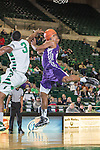 Stephen F. Austin Lumberjacks guard Trey Pinkney (10) and North Texas Mean Green guard Alzee Williams (3) in action during the game between the Stephen F. Austin Lumberjacks and the North Texas Mean Green at the Super Pit arena in Denton, Texas. SFA defeats UNT 87 to 53.