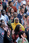 American diversity, woman in traditional dress, new citizens swearing in ceremony, Fourth of July, Seattle Center, Seattle, Washington State, United States,