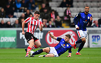 Lincoln City's Shay McCartan vies for possession with Crewe Alexandra's James Jones<br /> <br /> Photographer Chris Vaughan/CameraSport<br /> <br /> The EFL Sky Bet League Two - Lincoln City v Crewe Alexandra - Saturday 6th October 2018 - Sincil Bank - Lincoln<br /> <br /> World Copyright &copy; 2018 CameraSport. All rights reserved. 43 Linden Ave. Countesthorpe. Leicester. England. LE8 5PG - Tel: +44 (0) 116 277 4147 - admin@camerasport.com - www.camerasport.com