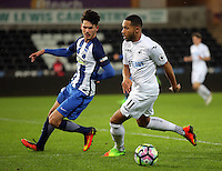 Pictured: Kenji Gorre of Swansea (R) Tuesday 28 February 2017<br /> Re: Premier League International Cup, Swansea City U23 v Hertha Berlin II at at the Liberty Stadium, Swansea, UK