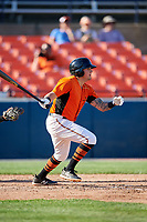 Frederick Keys shortstop Alejandro Juvier (6) follows through on a swing during the first game of a doubleheader against the Lynchburg Hillcats on June 12, 2018 at Nymeo Field at Harry Grove Stadium in Frederick, Maryland.  Frederick defeated Lynchburg 2-1.  (Mike Janes/Four Seam Images)