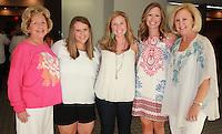 NWA Democrat-Gazette/CARIN SCHOPPMEYER Viginia Collins (from left), Jessica McCutcheon, Katie Hollowell, Amanda Rogers and Beth Collins enjoy Las Faygas.