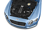 Car Stock 2014 Bentley Continental GT V8 Coupe 2 Door Coupe Engine high angle detail view