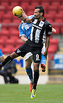 St Johnstone v Dunfermline&hellip;23.08.16   SPFL Development League<br />Greg Page heads clear from a Dunfermline trialist<br />Picture by Graeme Hart.<br />Copyright Perthshire Picture Agency<br />Tel: 01738 623350  Mobile: 07990 594431