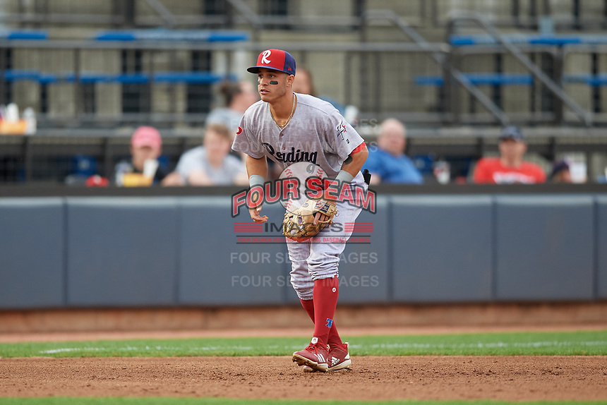Reading Fightin Phils third baseman Jose Gomez (15) during an Eastern League game against the Akron RubberDucks on June 4, 2019 at Canal Park in Akron, Ohio.  Akron defeated Reading 8-5.  (Mike Janes/Four Seam Images)