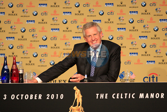 Colin Montgomerie in the Interview Room after the opening ceremony at the 2010 Ryder Cup, Celtic Manor, Newport, Wales, Thursday 30th September 2010..(Picture Manus O'Reilly/www.golffile.ie)