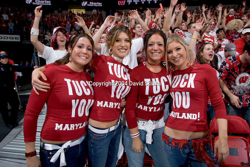 "MADISON, WI - NOVEMBER 30: Wisconsin fans, known as the ""Front Row Girls"", during the Wisconsin Badgers game against the Maryland Terrapins on November 30, 2004 in Madison, Wisconsin during the ACC-Big Ten Challenge. The Badgers beat the Terrapins 69-64. (Photo by David Stluka)"