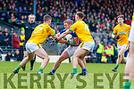 Stephen O'Brien, Kerry in action against Donal Keogan, and David Toner, Meath during the Allianz Football League Division 1 Round 4 match between Kerry and Meath at Fitzgerald Stadium in Killarney, on Sunday.