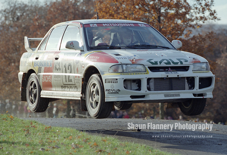 Pix: Shaun Flannery/shaunflanneryphotography.com...COPYRIGHT PICTURE>>SHAUN FLANNERY>01302-570814>>07778315553>>..1995 Network Q RAC Rally..19th November - 22nd November 1995..Rui Madeira and Nuno Rodrigues da Silva..Mitsubishi Lancer Evo III.Mitsubishi Ralliart Germany