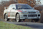 Pix: Shaun Flannery/shaunflanneryphotography.com...COPYRIGHT PICTURE>>SHAUN FLANNERY>01302-570814>>07778315553>>..1995 Network Q RAC Rally..19th November - 22nd November 1995..Rui Madeira and Nuno Rodrigues da Silva..Mitsubishi Lancer Evo III.Mitsubishi Ralliart Germany