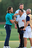 Tommy Fleetwood (ENG) and Francesco Molinari (ITA) on the 18th green during the 1st round of the DP World Tour Championship, Jumeirah Golf Estates, Dubai, United Arab Emirates. 15/11/2018<br /> Picture: Golffile | Fran Caffrey<br /> <br /> <br /> All photo usage must carry mandatory copyright credit (&copy; Golffile | Fran Caffrey)