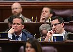 Nevada Sen. Mark Hutchison, left, and Assemblyman Wesley Duncan, both R-Las Vegas, listen to U.S. Senate Majority Leader Harry Reid address at the Legislature, in Carson City, Nev., on Wednesday, Feb. 20, 2013..Photo by Cathleen Allison