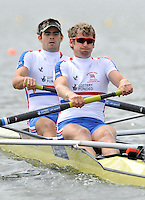 Brandenburg, GERMANY,  GBR BM2- , BowBen SMITH and Charles BURKITT, move away from the start at the 2008 FISA U23 World Rowing Championships, {idow], {date}, [Mandatory credit: Peter Spurrier Intersport Images]. Rowing Course: Brandenburg, Havel Rowing Course, Brandenburg, GERMANY