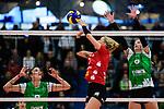 14.01.2018, Halle Berg Fidel, Muenster<br />Volleyball, Bundesliga Frauen, Normalrunde, USC Münsterr / Muenster vs. Dresdner SC<br /><br />Trick / Finte Mareen Apitz (#2 Dresden)<br /><br />  Foto © nordphoto / Kurth