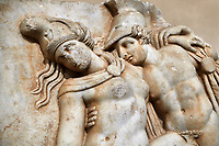 Detail of a Roman Sebasteion relief sculpture of Achilles and a dying Amazon, Aphrodisias Museum, Aphrodisias, Turkey.   Against an art background. <br /> <br /> Achilles supports the dying Amazon queen Penthesilea whom he has mortally wounded. Her double headed axe slips from her hands. The queen had come to fight against the Greeks in the Trojan war and Achilles fell in love with her.