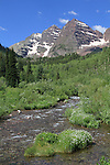 Maroon Creek and the Maroon Bells Peaks, Aspen, Colorado. .  John offers private wildflower tours in the Crested Butte area and throughout Colorado. Year-round.