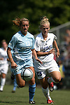 Shannon Sullivan (13), of San Diego, and Duke's Katie Roark (23) chase after the ball on Sunday September 18th, 2005 at Koskinen Stadium in Durham, North Carolina. The Duke University Blue Devils defeated the University of San Diego Toreros 5-0 during the Duke adidas Classic soccer tournament.