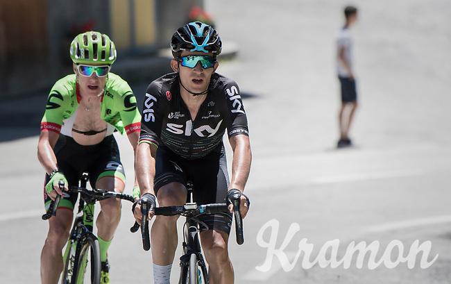Michal Kwiatkowski (POL/SKY) & Simon Clarke (AUS/Cannondale-Drapac) riding ahead of the peloton<br /> <br /> 69th Critérium du Dauphiné 2017<br /> Stage 8: Albertville > Plateau de Solaison (115km)