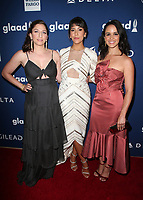 BEVERLY HILLS, CA - APRIL 12: Chelsea Peretti, Stephanie Beatriz, Melissa Fumero, At the 29th Annual GLAAD Media Awards at The Beverly Hilton Hotel on April 12, 2018 in Beverly Hills, California. <br /> CAP/MPI/FS<br /> &copy;FS/MPI/Capital Pictures