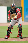 Chattanooga Lookouts catcher Miguel Perez warms up starting pitcher Josh Hall (not pictured) prior to taking on the Birmingham Barons at Hoover Metropolitan Stadium in Birmingham, AL, Sunday, August 20, 2006.
