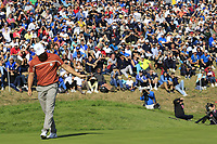 Alex Noran (Team Europe) sinks his putt on the 9th green during Saturday's Foursomes Matches at the 2018 Ryder Cup 2018, Le Golf National, Ile-de-France, France. 29/09/2018.<br /> Picture Eoin Clarke / Golffile.ie<br /> <br /> All photo usage must carry mandatory copyright credit (© Golffile | Eoin Clarke)