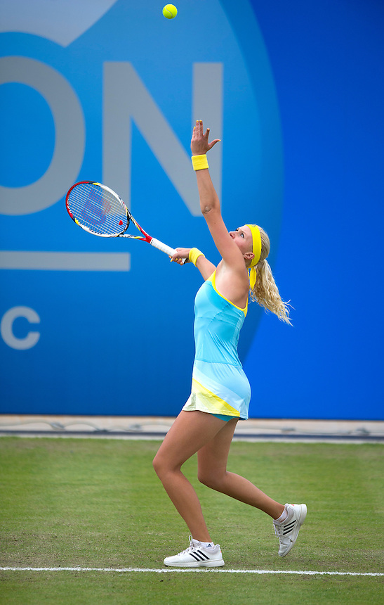 Kristina Mladenovic (FRA) in action during her defeat by Daniela Hantuchova (SVK) in their Womens Singles Third Round match today - D.Hantuchova (SVK) def. K.Mladenovic (FRA) [12] 3-6 7-6(6) 6-4<br /> <br />  (Photo by Stephen White/CameraSport)<br /> <br /> Tennis - WTA International - Aegon Classic - Day 4 Thursday 13th June 2013 - Edgbaston Priory Club, Birmingham <br /> <br /> &copy; CameraSport - 43 Linden Ave. Countesthorpe. Leicester. England. LE8 5PG - Tel: +44 (0) 116 277 4147 - admin@camerasport.com - www.camerasport.com