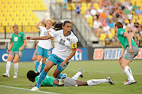 Marta (10) of Marta XI celebrates scoring her second goal during the Women's Professional Soccer (WPS) All-Star Game at KSU Stadium in Kennesaw, GA, on June 30, 2010.