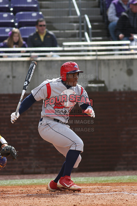 Stony Brook Seawolves infielder William Carmona #5 at bat during a game against the East Carolina University Pirates at Clark-LeClair Stadium on March 4, 2012 in Greenville, NC.  East Carolina defeated Stony Brook 4-3. (Robert Gurganus/Four Seam Images)