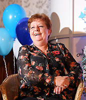Pictured: Jule Saunders. Wednesday 08 November 2017<br /> Re: Presentation of hospital catering syndicate win &pound;25m in Euromillions Jackpot at Hensol Castle, south Wales, UK. Julie Saunders, 56, Doreen Thompson, 56, Louise Ward, 37, Jean Cairns, 73, SIan Jones, 54 and Julie Amphlett, 50 all work as catering staff for Neath Port Talbot Hospital in south Wales.
