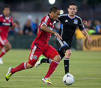 Santa Clara, California - Saturday July 28, 2012: Chicago Fire's Alex and San Jose Earthquakes' Sam Cronin in action during a game at Buck Shaw Stadium, Stanford, Ca    San Jose Earthquakes and Chicago Fire tied 0 - 0