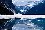 Nature scenery of Lake Louise with ice melting in spring. Alberta Rockies. Banff Provincial Park, Rocky Mountains, Alberta, Canada.