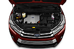 Car Stock 2019 Toyota Highlander XLE 5 Door SUV Engine  high angle detail view