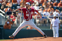 Oklahoma Sooners starting pitcher Dillon Overton #13 delivers a pitch to the plate against the Texas Longhorns in the NCAA baseball game on April 6, 2013 at UFCU DischFalk Field in Austin, Texas. The Longhorns defeated the rival Sooners 1-0. (Andrew Woolley/Four Seam Images).