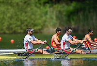 Lucerne, SWITZERLAND<br /> <br /> USA M2X, Bow. Stephan WHELPLEY and William COWLES. 2016 European Olympic Qualifying Regatta, Lake Rotsee.<br /> <br /> Sunday  22/05/2016<br /> <br /> [Mandatory Credit; Peter SPURRIER/Intersport-images]