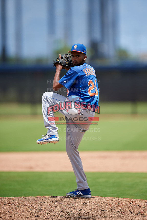 GCL Mets relief pitcher Miguel Ramirez (29) delivers a pitch during a game against the GCL Nationals on August 4, 2018 at FITTEAM Ballpark of the Palm Beaches in West Palm Beach, Florida.  GCL Nationals defeated GCL Mets 7-4.  (Mike Janes/Four Seam Images)